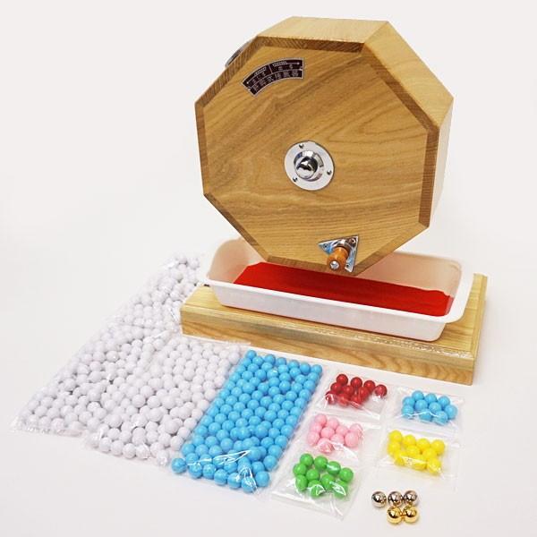 500球用 高級 木製ガラポン抽選器 SHINKO製 国産 [玉455球付(金・銀付)] [金色受皿と赤もうせん受皿付] / ガラガラ 福引 抽選会 抽選機 event-ya 02