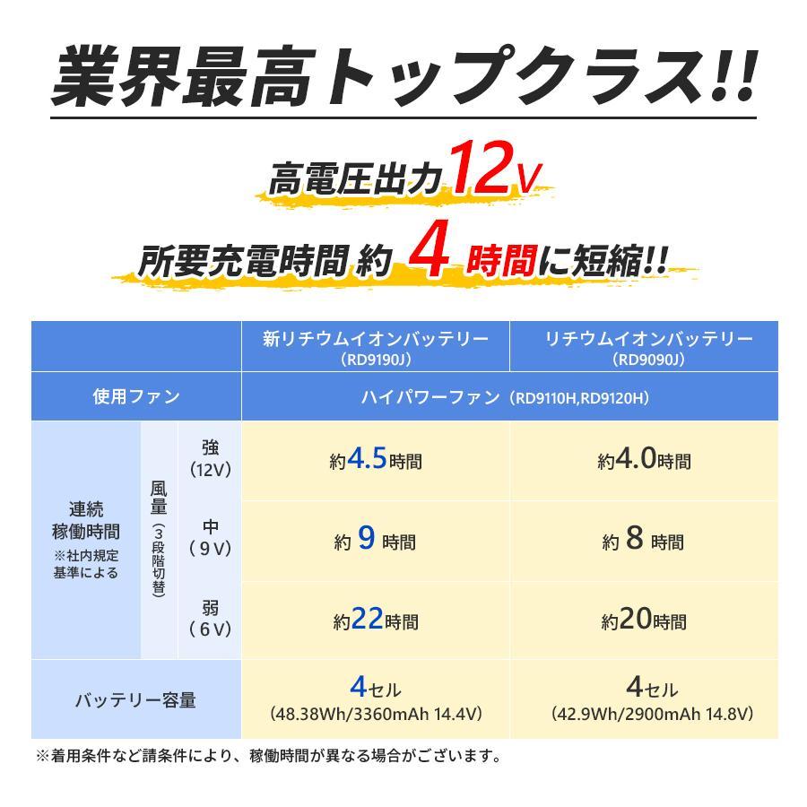 リチウムイオンバッテリーセット 空調風神服用バッテリー 高電圧12V スマホ操作対応 簡易防水 ワイヤレスコントローラー対応 KANSAI カンサイ RD9190J|everest-work|05
