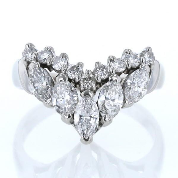おすすめ Pt850 プラチナ リング ダイヤモンド 0.81ct/0.23ct マーキースカット V字 デザイン 指輪 9号【新品仕上済】【el】【】, MAオリジンジュエリー 1ca09980