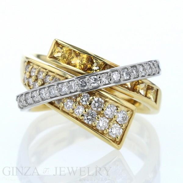 55%以上節約 K18YG Pt900 ゴールド プラチナ リング ダイヤモンド0.60ct イエローサファイア0.87ct コンビ クロス デザイン 12.5号 指輪【新品仕上済】【zz】, 大工道具金物の専門通販アルデ 2d96acde