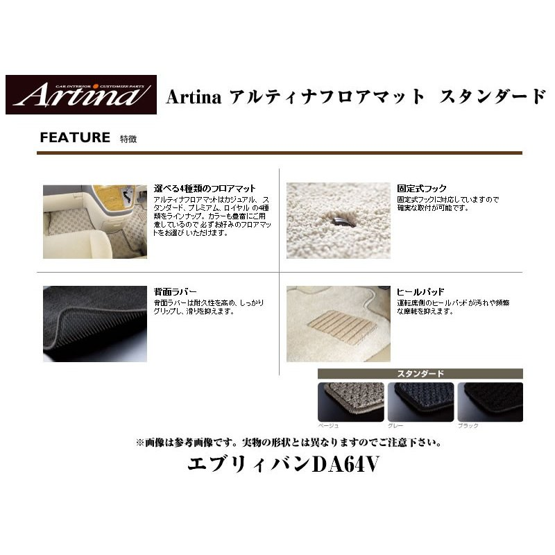 【ブラック】Artina アルティナフロアマット スタンダード エブリイバンDA64V(H17/8-) MT車用|everyparts|02