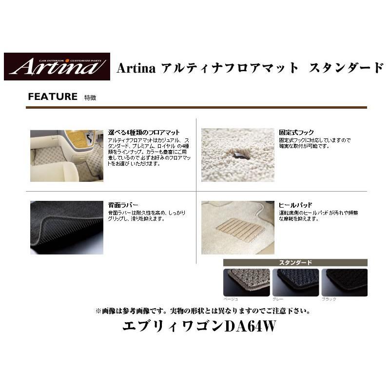 【ブラック】Artina アルティナフロアマット スタンダード エブリイワゴンDA64W(H17/8-) MT車用 everyparts 02