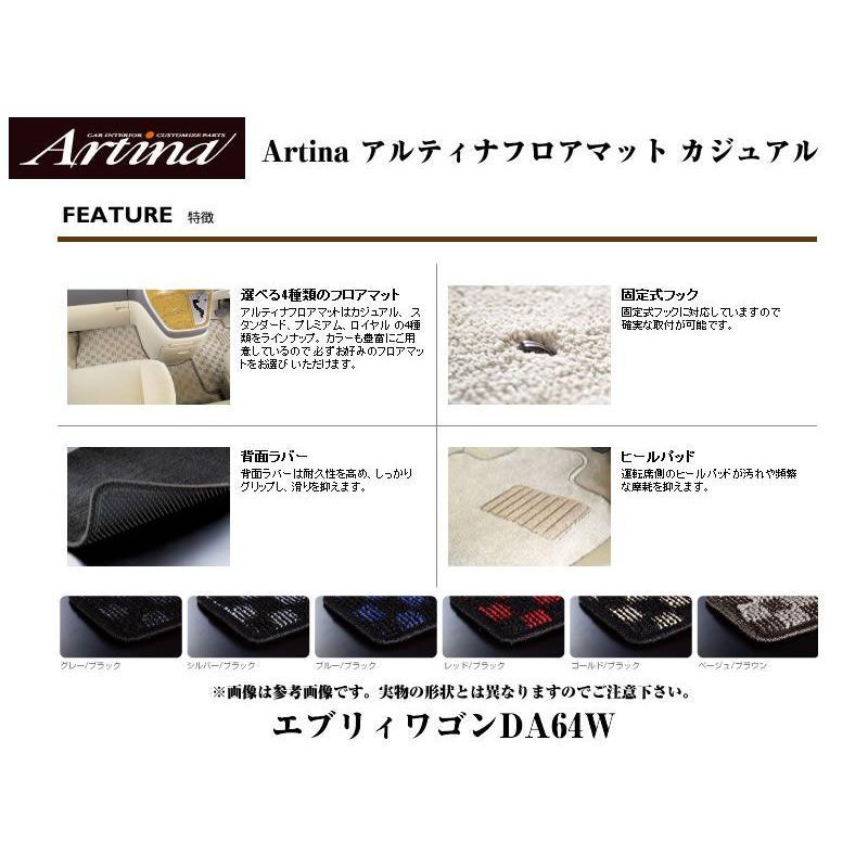 【シルバーブラック】Artina アルティナフロアマット カジュアル エブリイワゴンDA64W(H17/8-) AT車用|everyparts|02