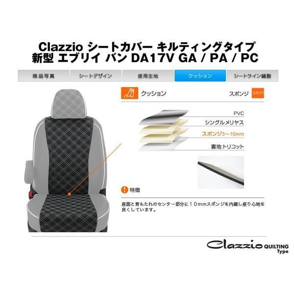6036【ブラックXホワイトステッチ】Clazzio クラッツィオシートカバーキルティングタイプ 新型 エブリイ バン DA17V (H29/5-) GA / PA / PC リミテッド含む everyparts 04