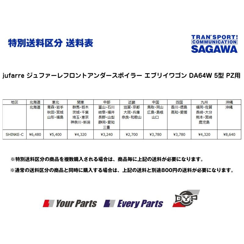 【ミステリアスバイオレットパールZED】jufarre ジュファーレフロントアンダースポイラー エブリイワゴン DA64W 5/6型 PZ系|everyparts|02