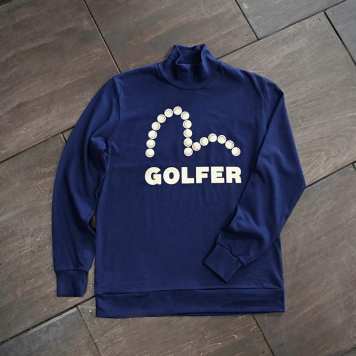 EVISUエヴィス GOLFER JERSEY TEE/イングランド製/MOCKNECK長袖/ネイビー/モックネック/Tシャツ/ゴルフウェア/EVISUジーンズ