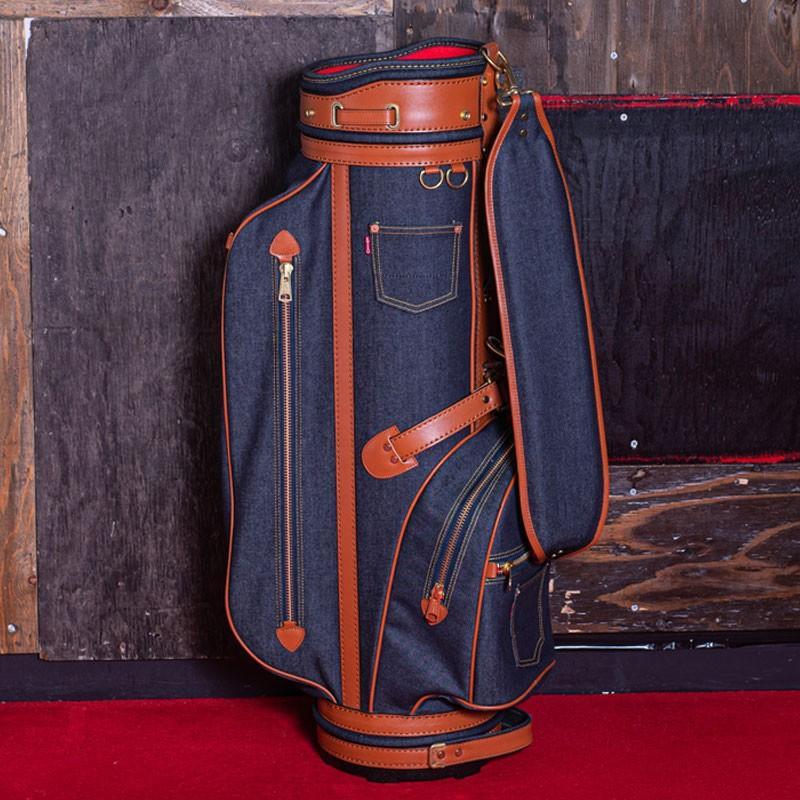 EVISUエヴィス《ANGEL》 CADDIE BAG (DENIM/L.BROWN)/ゴルフバッグ/キャディバッグ/EVISUジーンズ