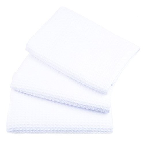 SINLAND 吸水 マイクロファイバー 食器 拭き ワッフルタオル ふきん ディッシュクロス(ホワイト 3枚)|evolveseller