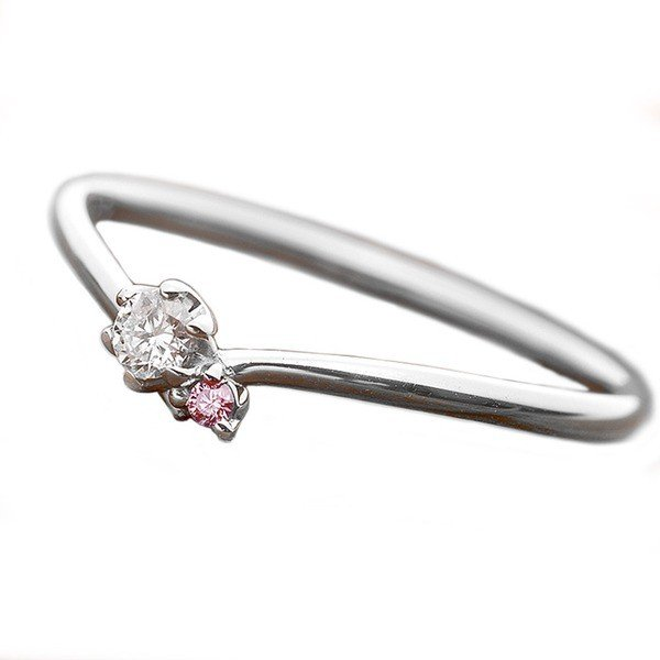 好きに ダイヤモンド リング ダイヤ ピンクダイヤ 合計0.06ct 10号 プラチナ Pt950 V字モチーフ 指輪 ダイヤリング 鑑別カード付き, 健康学園 d0961eec