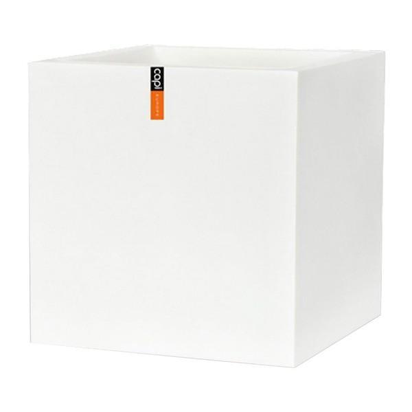 樹脂製軽量ポット (植木鉢/プランター) 〔キューブ型 ホワイト〕 幅60cm 防水 UV加工 耐寒 『CAPI』 〔ガーデニング用品〕