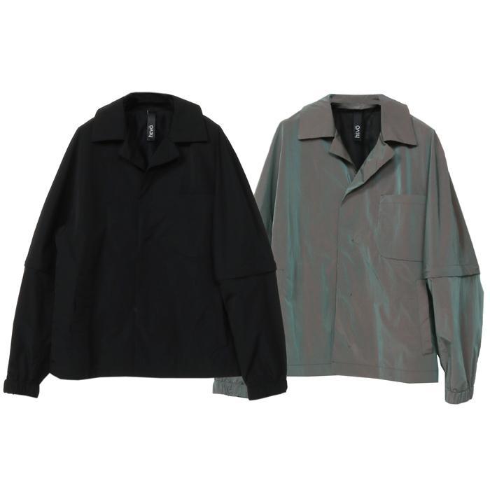【SALE 50】hevo イーヴォ GROM718 ナイロンオープンカラーシャツジャケット 21春夏 2558/IRIDESCENT 2517/BLACK 1105-GROM718 exclusive