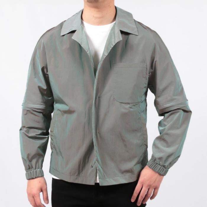 【SALE 50】hevo イーヴォ GROM718 ナイロンオープンカラーシャツジャケット 21春夏 2558/IRIDESCENT 2517/BLACK 1105-GROM718 exclusive 15
