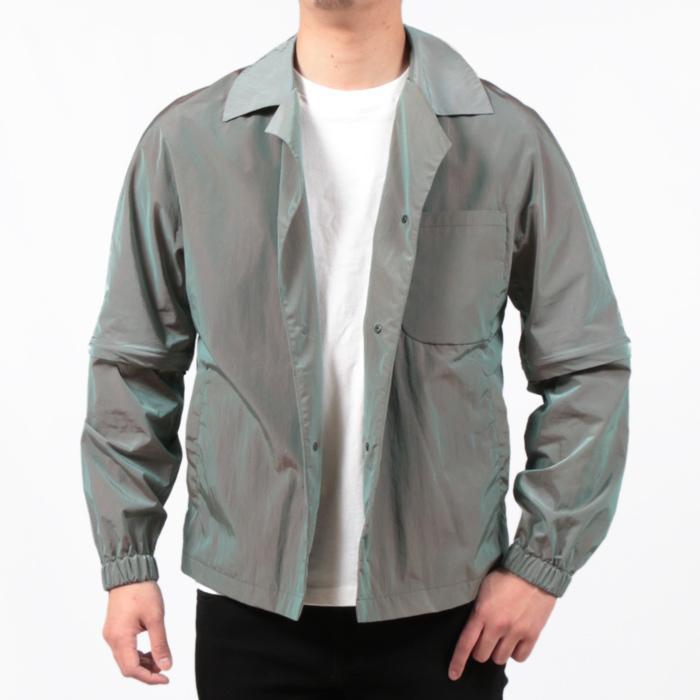 【SALE 50】hevo イーヴォ GROM718 ナイロンオープンカラーシャツジャケット 21春夏 2558/IRIDESCENT 2517/BLACK 1105-GROM718 exclusive 16