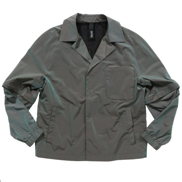 【SALE 50】hevo イーヴォ GROM718 ナイロンオープンカラーシャツジャケット 21春夏 2558/IRIDESCENT 2517/BLACK 1105-GROM718 exclusive 03