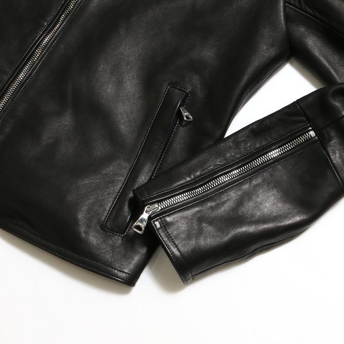 EMMETI エンメティ×干場義雅 H UOMO アッカウォモ ラム ナッパレザー  シングルライダースレザージャケット メンズ 21春夏 NERO/BLACK exclusive 09
