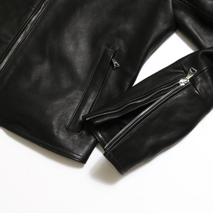 EMMETI エンメティ×干場義雅 H UOMO アッカウォモ ラム ナッパレザー  シングルライダースレザージャケット メンズ 21春夏 NERO/BLACK exclusive 10