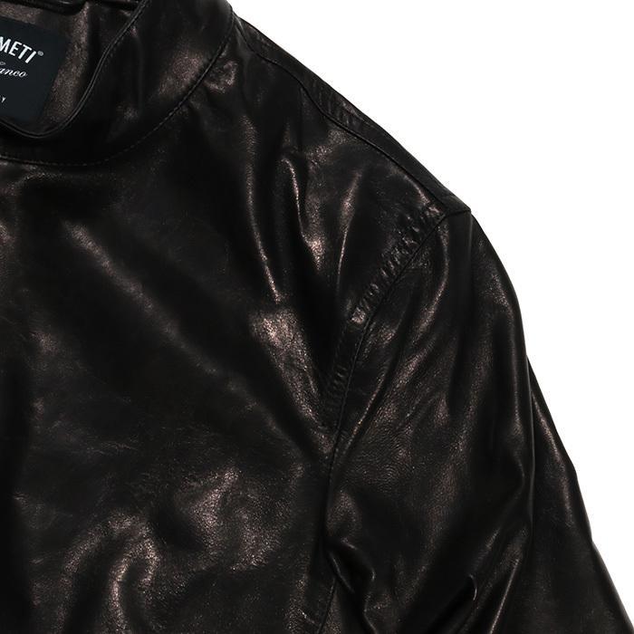 EMMETI エンメティ JURI ユリ ラム ナッパレザー 0.6mm極薄レザー シングルライダースレザージャケット 21春夏 メンズ NERO/BLACK exclusive 11