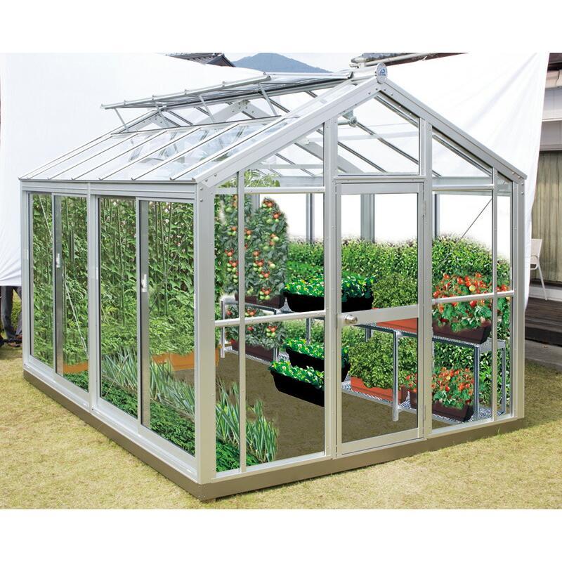 設置工事込 家庭用温室G3(アルミフレーム·ガラスタイプ) アルミニネオ NAB-2(3坪タイプ)(大仙)