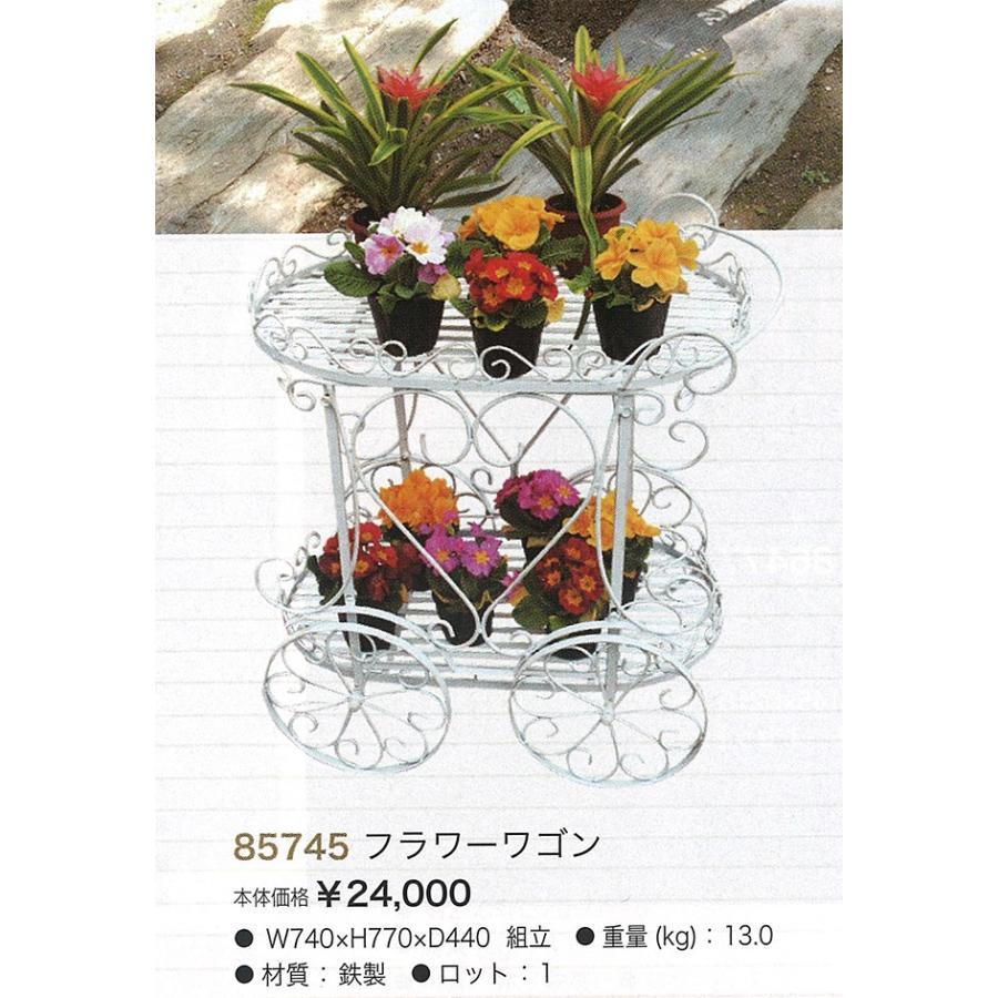 フラワーワゴン(85745)<br>鉄製 花台 手押し車 置物 飾り レトロ カントリー調