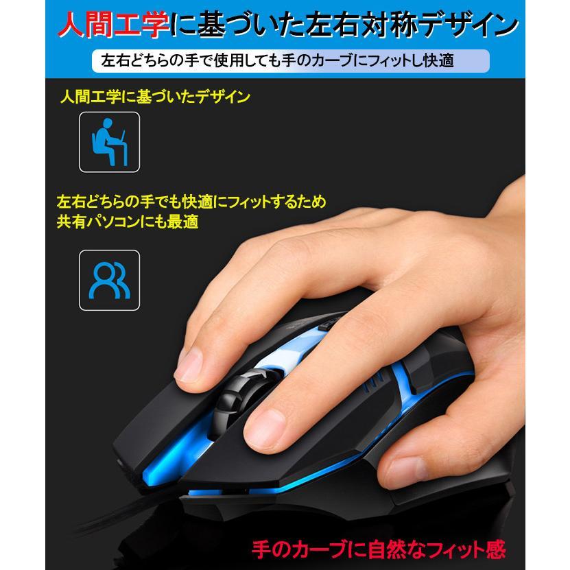 光るマウス 光学式 有線 DPI3段階調節可能 4ボタン 滑り止め加工 快適 人間工学に基づいたデザイン かっこいい 手にフィット expsjapan 04