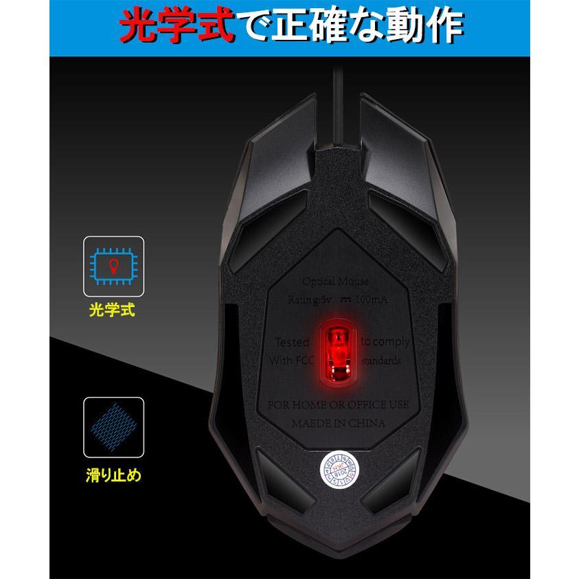 光るマウス 光学式 有線 DPI3段階調節可能 4ボタン 滑り止め加工 快適 人間工学に基づいたデザイン かっこいい 手にフィット expsjapan 06