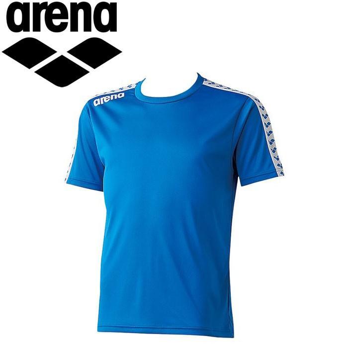 2枚までメール便送料無料 アリーナ 水泳 半袖Tシャツ 限定Special Price ARN6331-BLU メンズ チームラインTシャツ オープニング 大放出セール