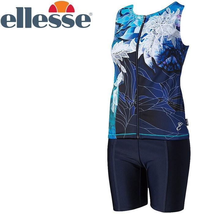 エレッセ レースプリント美ラップ美セパレーツ フィットネス 水着 レディース ES78134-BL 返品不可