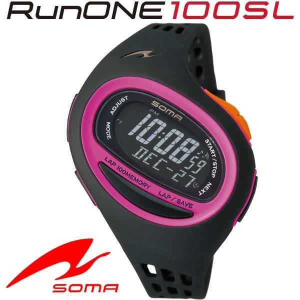 ソーマ 保障 SOMA ランニングウォッチ RunONE 100SL ブラック Medium NS09008 ピンク 大注目