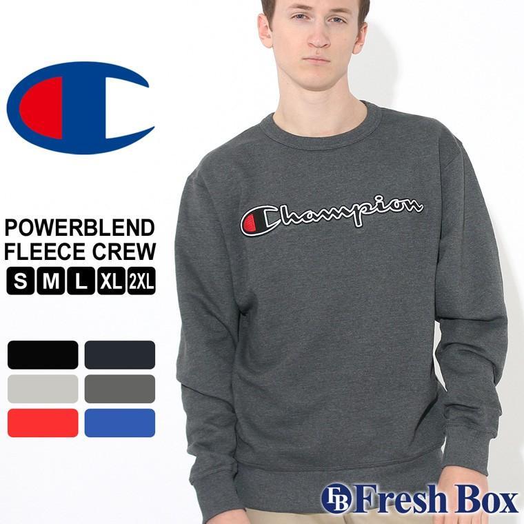 Champion Powerblend Men/'s Fleece Crew Felt Script Logo with Chainstitch GF88H