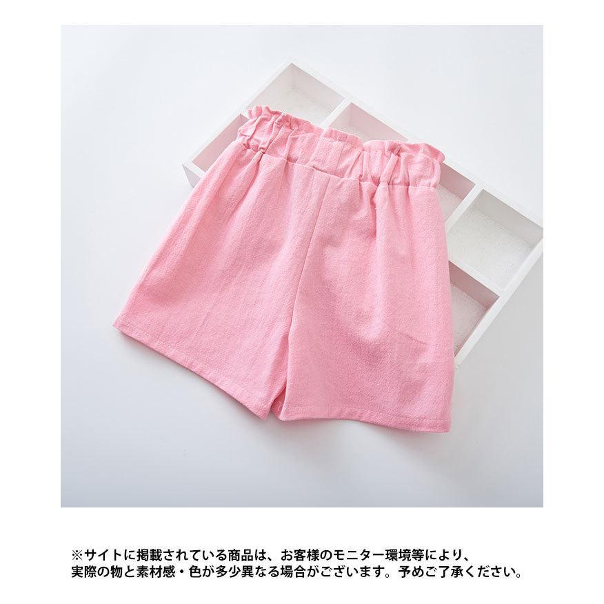 ネコポス送料無料 ショートパンツ キッズ 女の子 コットン ジュニア 子供 3分丈 夏 薄手 無地 可愛い リボン おしゃれ シンプル カジュアル ボトムス|f-f-s|10
