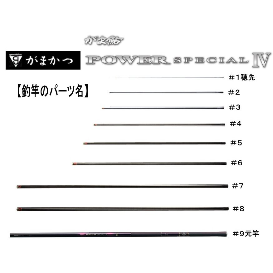 234461009がま鮎パワースペシャル4黒/荒瀬100   #9 (上から9番目節・元竿)