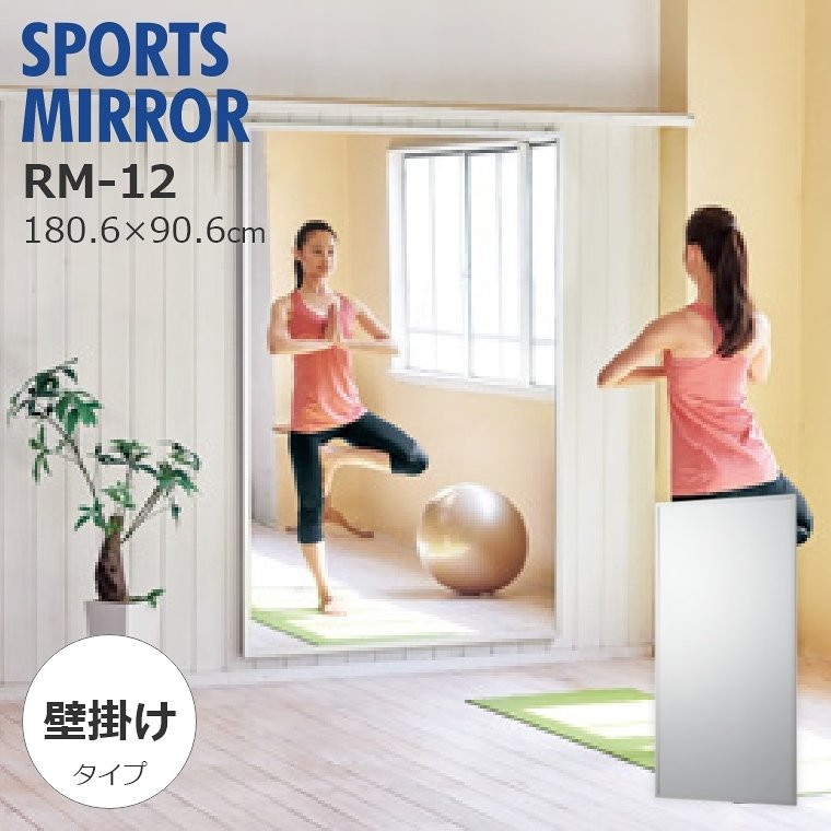 割れない鏡 鏡 高精細 全身鏡 フィルムミラー 壁掛け姿見 90×180cm スポーツミラー 壁面式 鏡 リフェクス REFEX RM-12