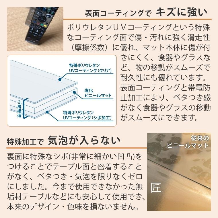 テーブルマット 透明 非転写 オーダー テーブルクロス デスクマット テーブルマット匠 たくみ 角型 2mm厚 150×90cmまで アルコールOK f-news 06