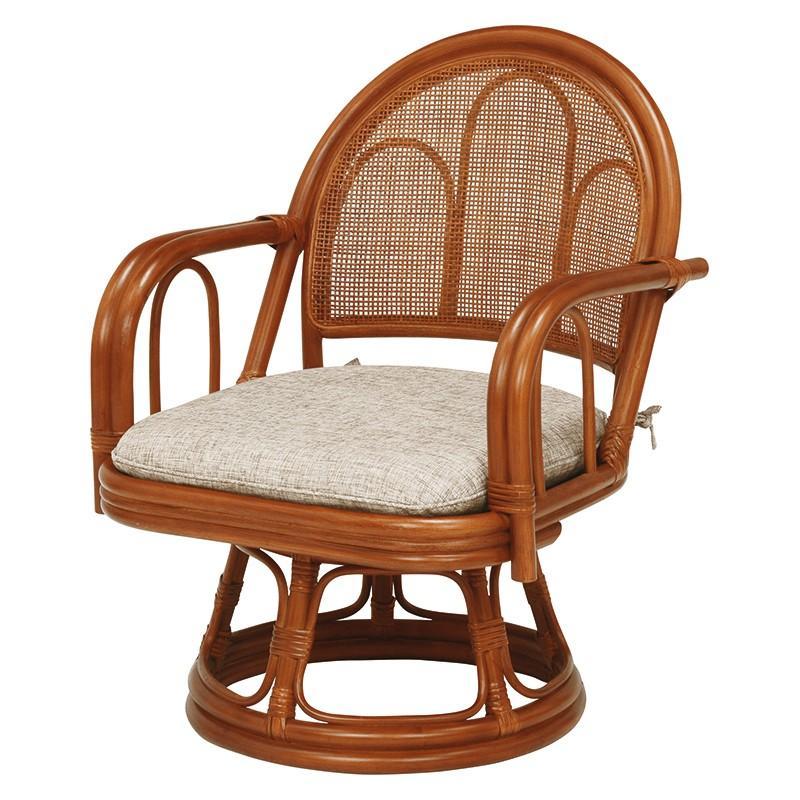 2脚組 座椅子 ミドルタイプ 2脚セット 籐楽々座椅子 籐 タラン タラン 肘 籐 1人一人掛け 椅子 チェア RZ-942BR