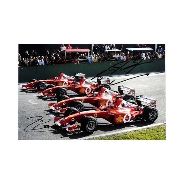 2002 M.シューマッハ & R.バリチェロ スクーデリア·フェラーリ F2002 直筆サイン入写真 S-090
