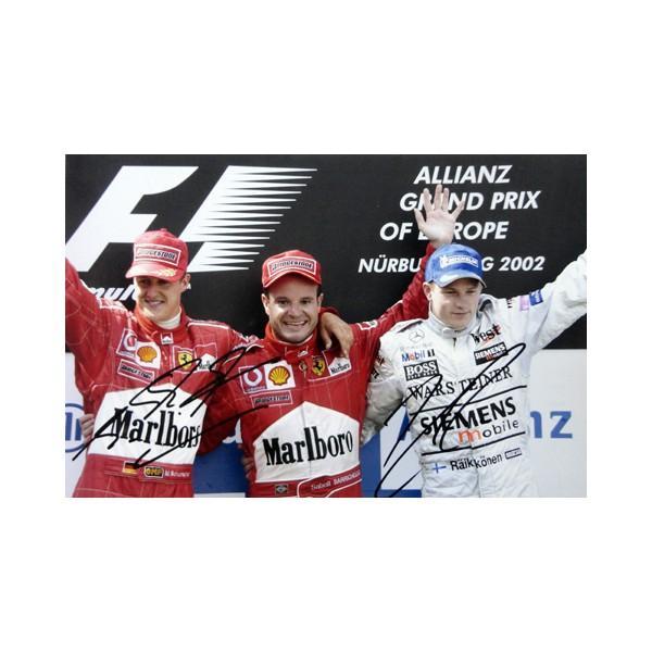 2002 M.シューマッハ & K.ライコネン スクーデリア·フェラーリ & マクラーレン·メルセデス 直筆サイン入写真 S-035