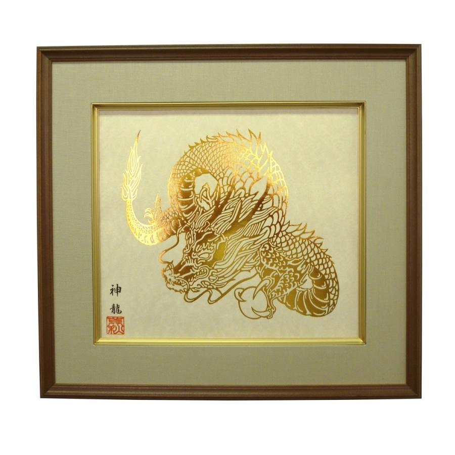 【干支シリーズ 辰】  箔押し画 額縁付き 神龍|faceartkyo|04