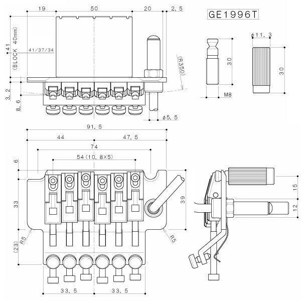 ゴトー【GOTOH】フロイド・ローズ トレモロユニット GE1996T(ブラッククローム)|factorhythm|02