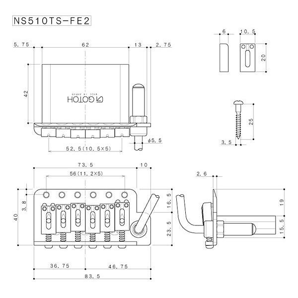 ゴトー【GOTOH】トレモロユニット NS510TS-FE2(ゴールド)|factorhythm|02