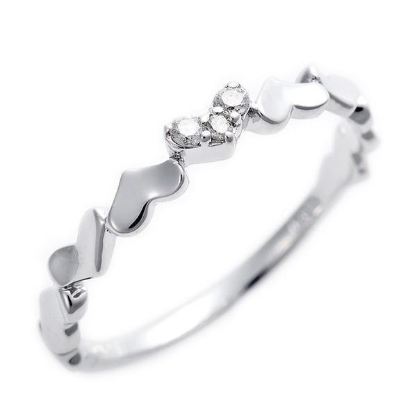 【希少!!】 ダイヤモンド ピンキーリング K10 ホワイトゴールド ダイヤ0.03ct ハートモチーフ 5号 指輪, ジューシーガーデン プラス 8d0ee4de