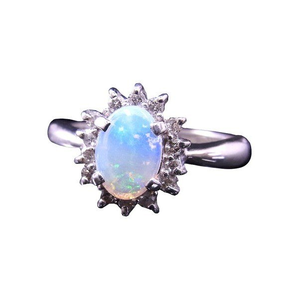 最も信頼できる 大粒オパール&ダイヤリング 指輪 11号, e-家具mart 056cf1f5