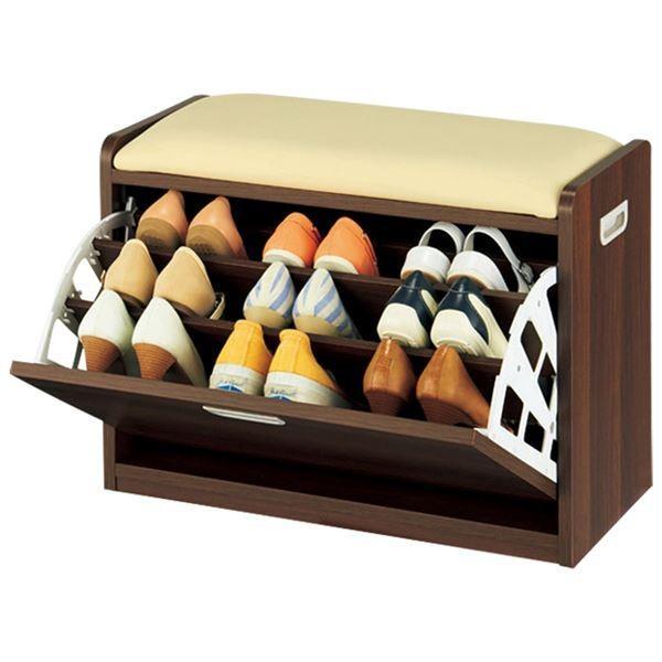 腰掛け付きシューズボックス/スツール 腰掛け付きシューズボックス/スツール 〔2: Mサイズ〕 木製/合成皮革