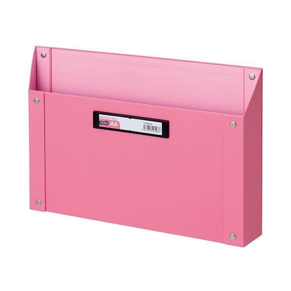 (まとめ) TANOSEE TANOSEE TANOSEE マグネットボックス(貼り表紙) A4サイズ ピンク 1個 〔×10セット〕 74c