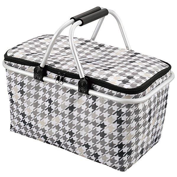 (まとめ) 大容量 保冷バッグ/買い物バッグ 〔バスケット型〕 保冷・保温効果 たためる 幅広 行楽 アウトドア 〔×24個セット〕