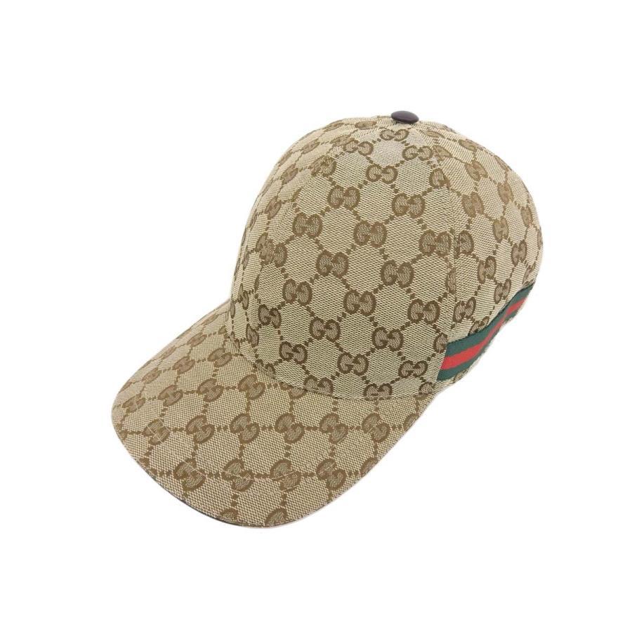注目 超美品 GUCCI グッチ GGキャンバス シェリーライン ベースボールキャップ ベージュ 帽子 20190726, ミナミオグニマチ 4ff83869