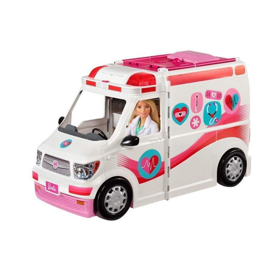 バービー ケア クリニックビークル 救急車 カー プレイセット ライトアップとサイレンサウンド付き 病院用車両 診療車 レスキューカー ドクターカー