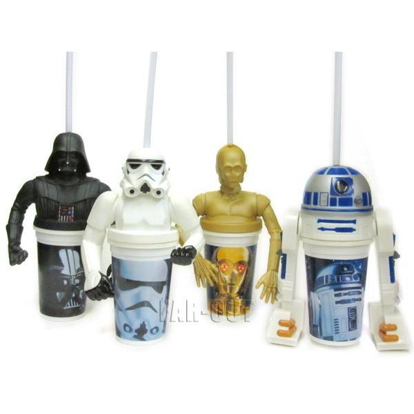 スター・ウォーズ ドリンクカップ 4点セット タコベル ミールトイ 映画公開記念 ダースベイダー、ストームトルーパー、C-3PO、R2-D2 フィギュア 1997年