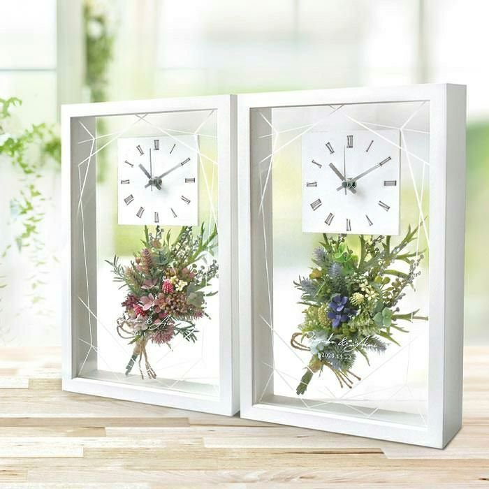 結婚式 両親贈呈品 フラワークリアクロック リボンゴム付 時計 ブーケ フラワー ご両親へのプレゼント 新色追加して再販 商い クリア 花