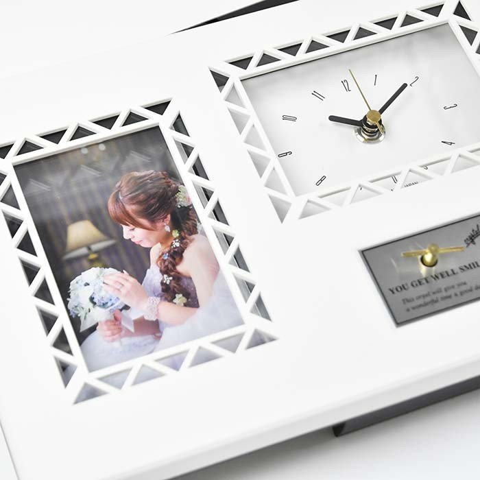 結婚式 両親贈呈品 / 即日出荷 オルゴール メッセージカード付時計 「ナチュラルフラワー」[リボンゴム付]/ ギフト 記念品 メッセージ フォトフレーム farbe 05