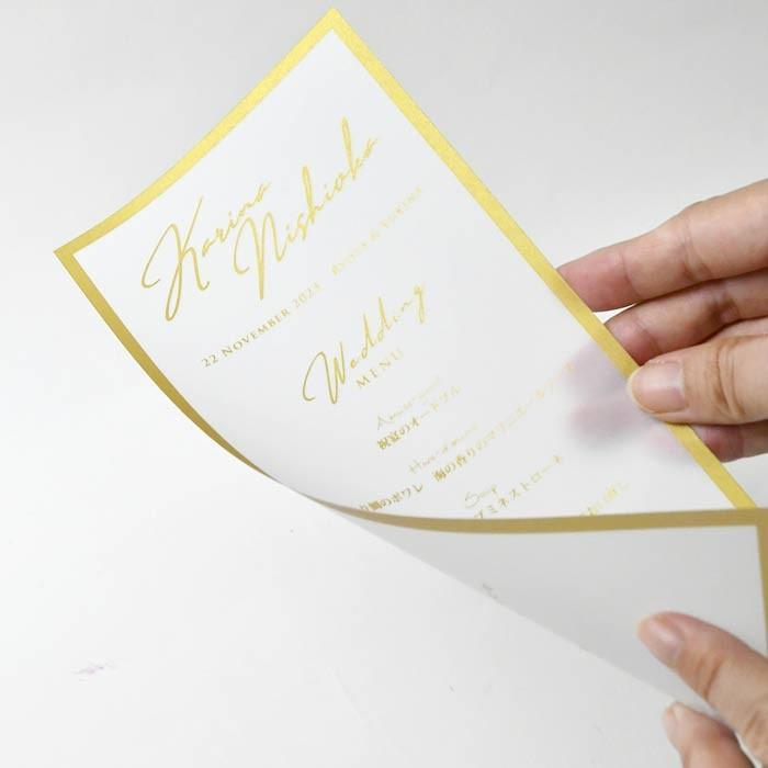 結婚式 席札 / 席札メニュー表 「トレープゴールド」(1名様分)/ ウェディング 披露宴 farbe 04